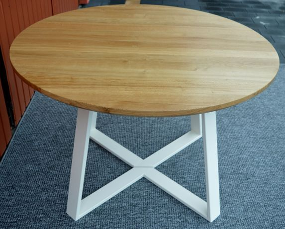 Stół okrągły  loft: Mari dąb lity.Stòł drewniany rozkładany okrągły.
