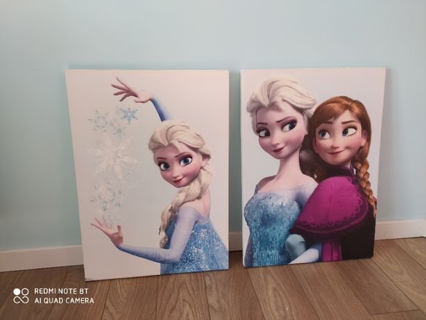 Dwa obrazy Anny i Elzy zbajki kraina lodu cena za 2 sztuki