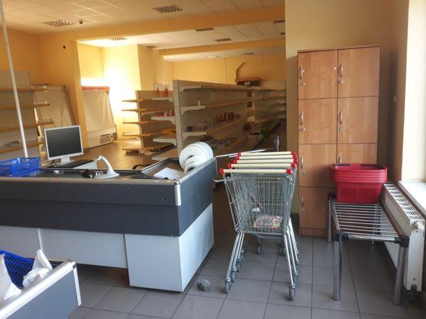 Wyposażenie sklepu lady chłodnicze, wagi, boxy kasowe, wózki, regały