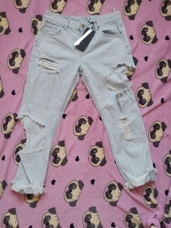 Spodnie jeansowe boyfriendy szarpane dziury marki 3D Denim