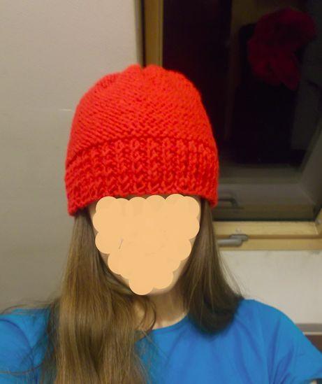 czapka handmade czerwona damska