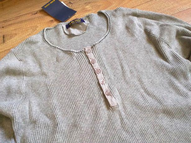 ZARA MAN Youth sweterek longshirt szary melanż