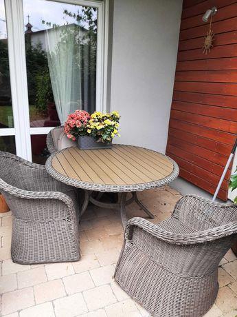 meble ogrodowe stół fotel technorattan stan idealny