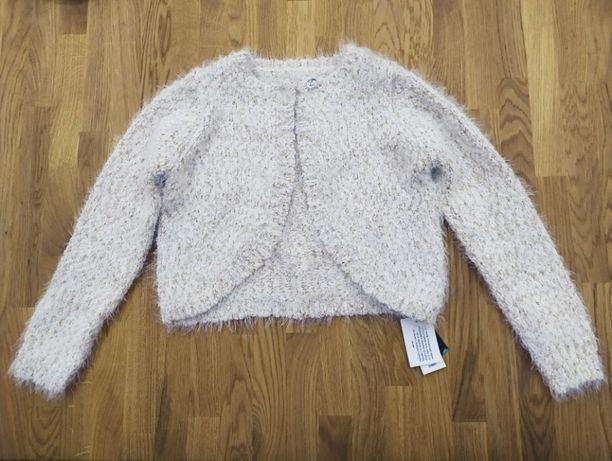 Sweterek bolerko złoto kremowy dla dziewczynki 9lat rozmiar 134