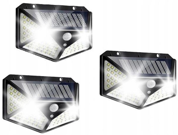 Zestaw 3 sztuki Lamp Solarnych 100 LED z Czujnikiem RUCHU I ZMIERZCHU