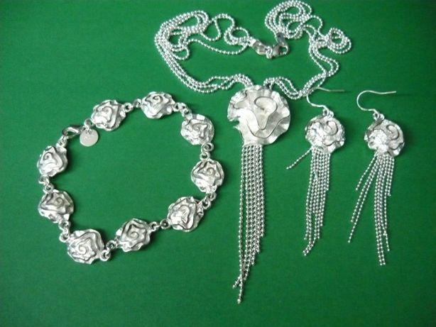 Komplet biżuterii pr.925 kwiaty