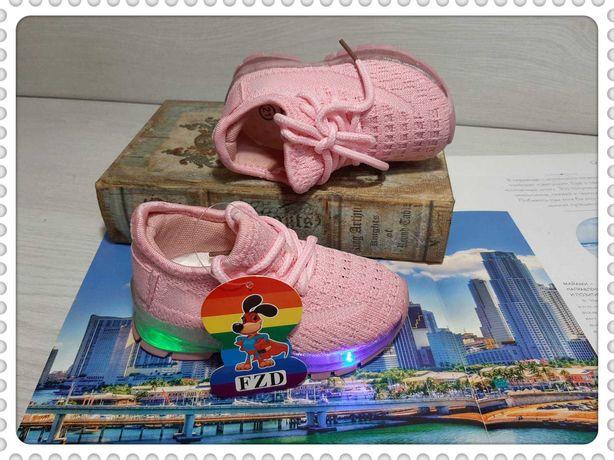 Стильные летние кроссовки для девочек мигающие р.21-26