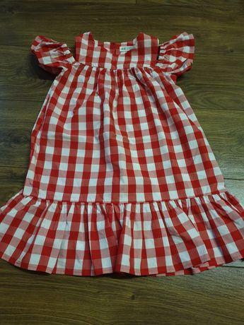 Sukienka kratka czerwona biała hm 122