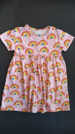 Next wygodna sukienka bawełna Tęcza Unicorn 98cm
