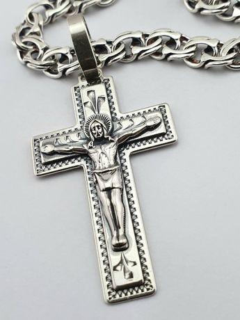 Распродажа! Серебряная цепочка и кулон - крест. Цепь и крестик серебро