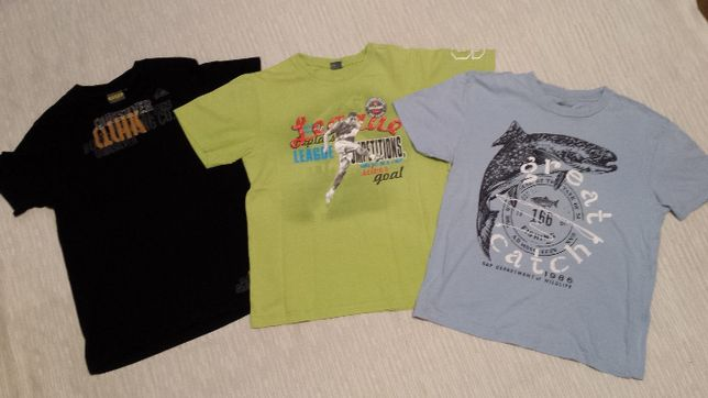 QUIKSILVER, GAP, GT, roz. 146, zestaw 3szt. koszulek, T-shirt