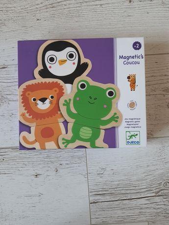 Puzzle drewniane magnetyczne Djeco zwierzęta