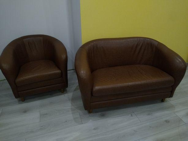 Fotele skórzane skóra naturalna brąz 1 + 2