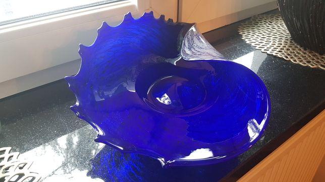 misa muszla ozdobne szkło prl chabrowe niebieskie  kolorowe