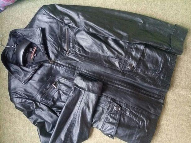 Кожаная куртка пиджак 48