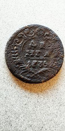 Медная монета Российской империи денга 1735 года