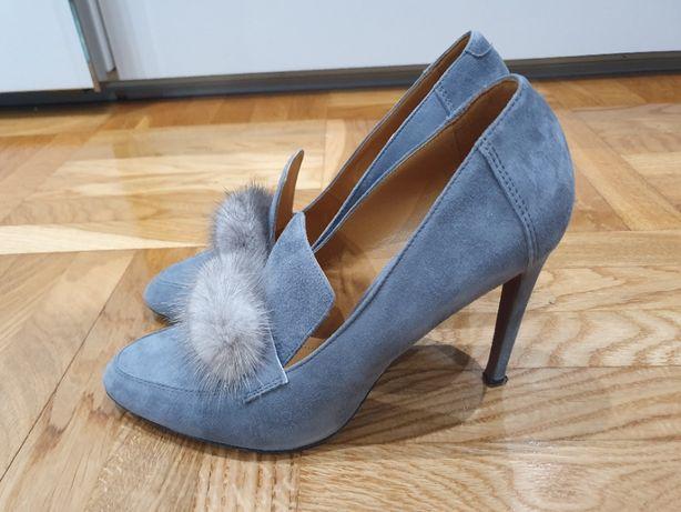 Buty czółenka botki szare futro królik SOLO FEMME skóra naturalna 40