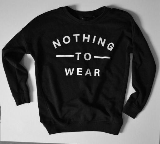 czarna bluza New Look print 36 S młodzieżowa modna z napisami print