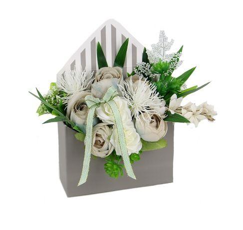 BUKIET w szarej KOPERCIE elegancki na prezent MIX kwiatów Dzień Babci