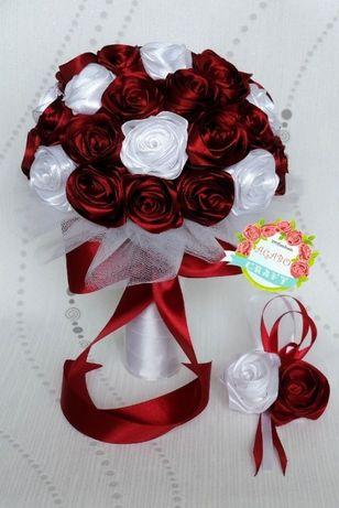 Bukiet ślubny ze wstążek róże rękodzieło