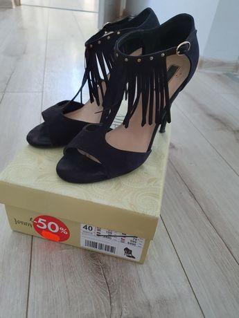 Czarne sandałki na szpilce rozmiar 40 Jenny Fairy
