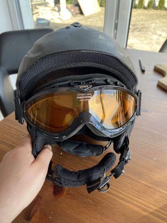 Damski kask narciarski z okularami firmy Uvex