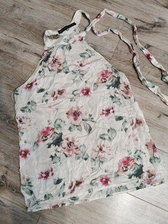 Bluzka Zara XS wysyłka 3zl lato kwiaty wiązana