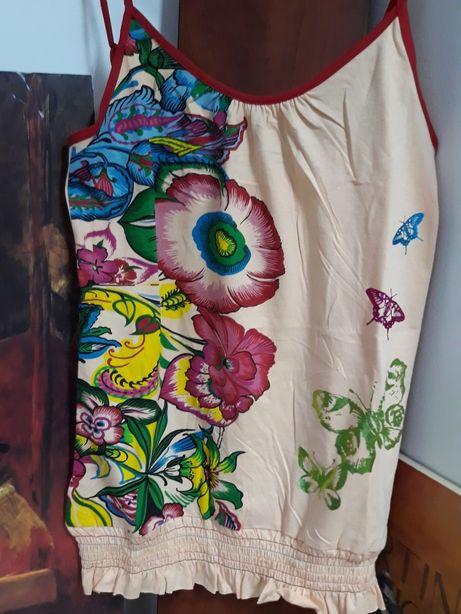Desigual bluzka kwiaty motyle folk na ramiączkach M i L