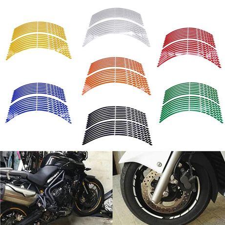 Fitas autocolantes refletoras jantes rodas 17, 18 e 19 pol moto ou car