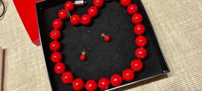 Czerwone korale + kolczyki Juwelier Gerda