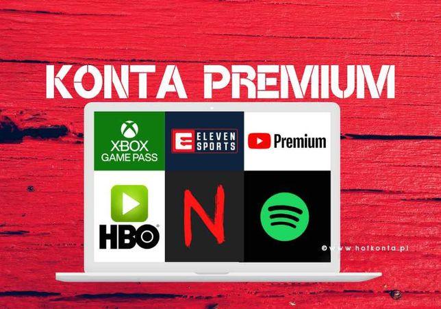 Netflix Konta PREMIUM   HBO YouTube  XBOX   ELEVEN   TIDAL   IPLA 24/7