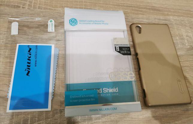 Чохол захисний накладка Nillkin для Sony Xperia M4 Aqua золото +плівка