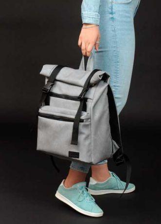 Универсальный рюкзак унисекс, серый, эко-кожа, школьный, подростковый