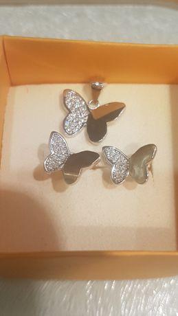 NOWE srebrne kolczyki+zawieszka motylki cyrkonie śliczny kompl