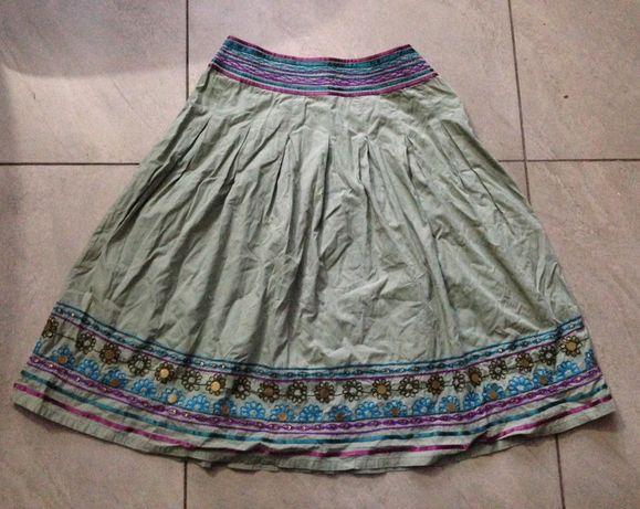 Spódnica khaki jasny fiolet turkus haft cekiny indyjska GEORGE 38