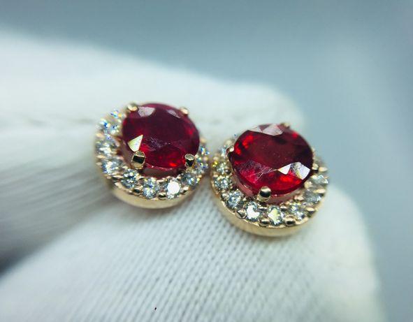 Золотые сережки серьги с Рубинами 1.2 карат и бриллиантами.
