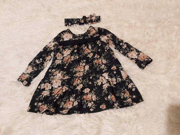 Komplet sukienka z opaską newbie poszukiwana czarna w róże 74