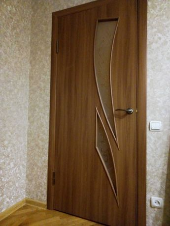 Дверь новая. с луткой и наличниками