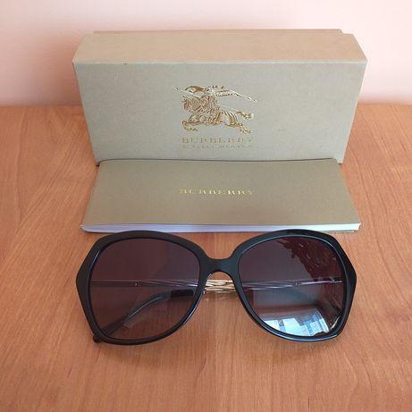 Burberry oryginalne nowe damskie okulary przeciwsłoneczne czarno-złote