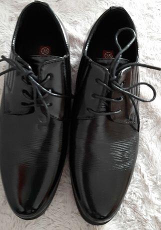 Pantofle buty czarne dla chłopca  35 komunia, wesele