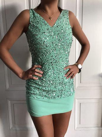 Silviana sukienka cekiny zielona 34/36 nowa cena 500 zł