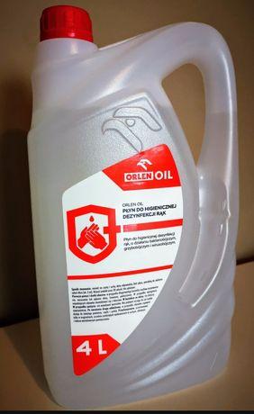 Płyn do higienicznejdezynfekcji rąkmarki Orlen o pojemności 4 litry