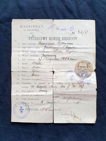 Stary dokument - Tymczasowy dowód osobisty - Zagórów - 1920