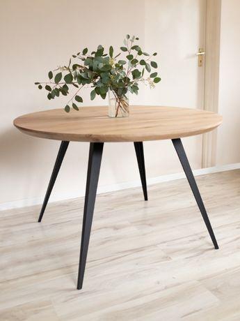 Stół dębowy okrągły | rustykalny drewno industrial drewniany stolik
