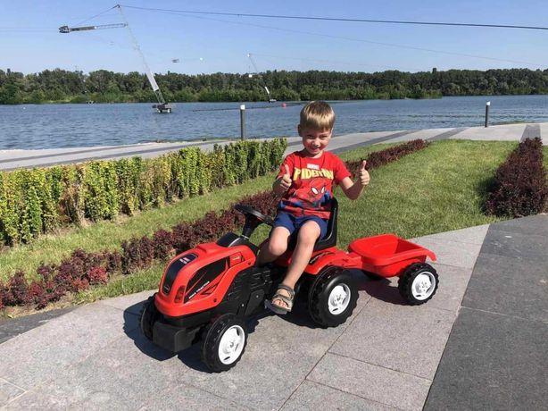 Xіт сезону! Дитячий трактор на педалях MMX MICROMAX з причепом red