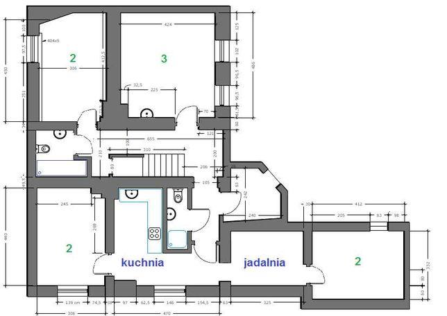 Dom wolnostojący, 8 pok, 2 kuchni, 4 łazienki. FV, nowy remont