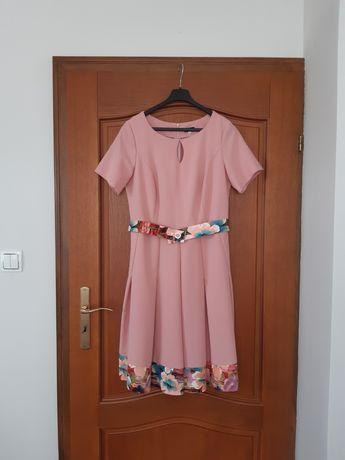 Sukienka na wesele 38 40 M L różowa pudrowy róż lato wiosna