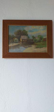 Obraz olejny stary młyn wodny