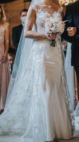 Piękna subtelna sukienka ślubna na małe XS (167-168 cm wzrostu)