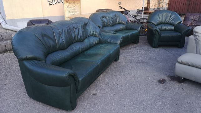 Wypoczynek skórzany 3+2+1 Skórka naturalna sofa fotel DOWÓZ DO DOMU